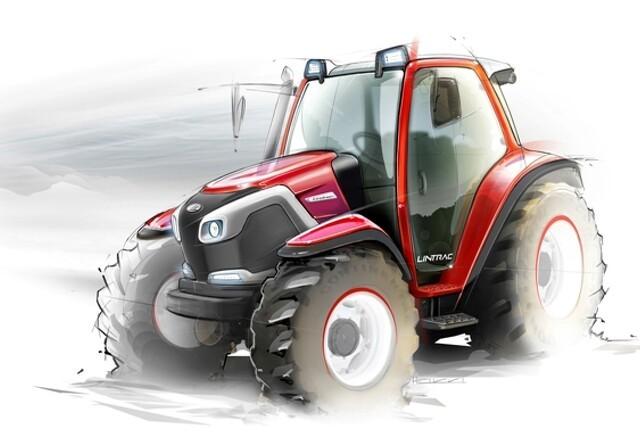 Traktorens baghjul styrer med